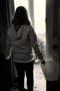 child facing outside world